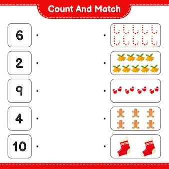 Подсчитайте и сопоставьте, подсчитайте количество рождественских украшений и сопоставьте правильные числа. развивающая детская игра