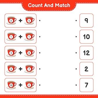 커피 컵의 수를 세고 일치시키고 올바른 숫자와 일치시킵니다.