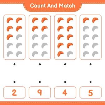 クロワッサンの数を数えて一致させ、正しい数と一致させます