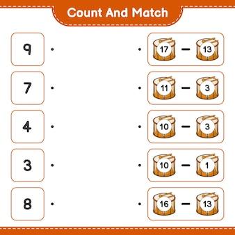 数えて一致させ、ドラムの数を数え、正しい数と一致させます。教育的な子供向けゲーム、印刷可能なワークシート、ベクターイラスト