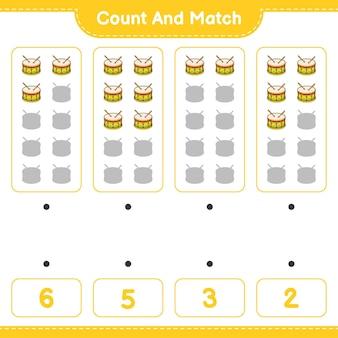 Подсчитайте и сопоставьте, подсчитайте количество барабанов и сопоставьте правильные числа. развивающая детская игра, лист для печати