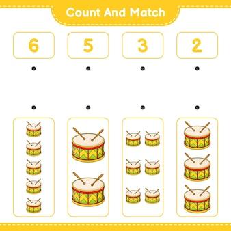 드럼의 수를 세고 카운트하고 올바른 숫자와 일치시킵니다.
