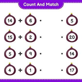 계산하고 일치시키고, 무화과의 수를 세고 오른쪽 숫자와 일치시킵니다. 교육용 어린이 게임, 인쇄 가능한 워크 시트