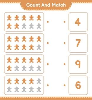 Подсчитайте и сравните, подсчитайте количество пряничного человечка и сравните с правильными числами. развивающая детская игра
