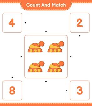 カウントして一致する帽子の数を数え、正しい数と一致する教育的な子供たちのゲーム