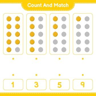 세어 맞추고, 허니 멜론의 수를 세고, 올바른 숫자로 맞추십시오. 교육용 어린이 게임, 인쇄 가능한 워크 시트