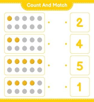 세어 맞추고, 허니 멜론의 수를 세고, 올바른 숫자로 맞추십시오. 교육용 어린이 게임, 인쇄 가능한 워크 시트.