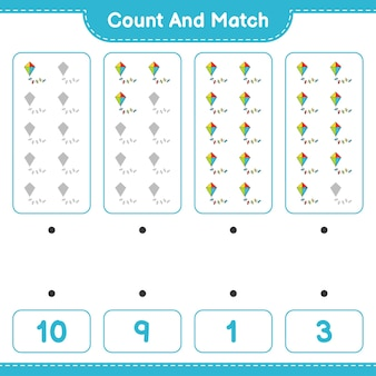 Подсчитайте и сравните, подсчитайте количество воздушных змеев и сравните их с правильными числами. развивающая детская игра, лист для печати