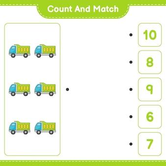 세고 일치하고, 트럭의 수를 세고 올바른 숫자와 일치하십시오. 교육 어린이 게임, 인쇄용 워크시트, 벡터 일러스트 레이 션