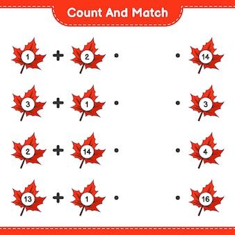 Подсчитайте и сопоставьте количество кленовых листьев и сопоставьте их с правильными числами