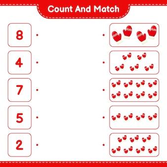 数えて一致させ、ミトンの数を数え、正しい数と一致させます。教育的な子供向けゲーム