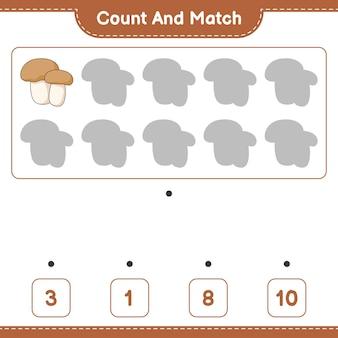 Подсчитайте и сравните количество грибов-подберезовиков и сравните их с правильными числами