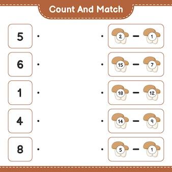 Подсчитайте и сопоставьте количество грибов-подберезовиков и сравните их с правильными числами