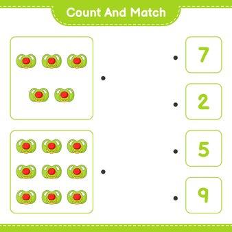 おしゃぶりの数を数えて一致させ、正しい数と一致させます