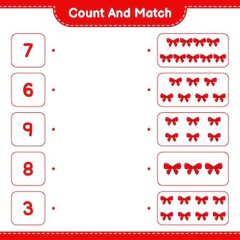 数えて一致させ、リボンの数を数え、正しい数と一致させます。教育的な子供向けゲーム
