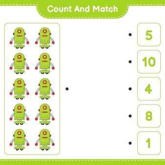 세고 짝짓기하고, 로봇 캐릭터의 수를 세고, 맞는 숫자와 짝을 맞추세요. 교육 어린이 게임, 인쇄용 워크시트, 벡터 일러스트 레이 션