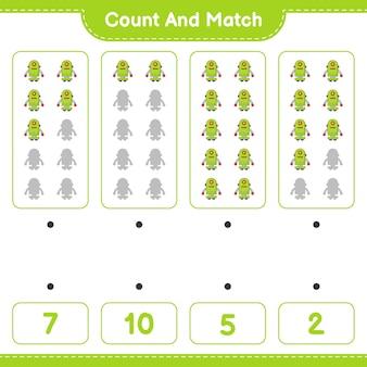 Подсчитайте и сравните, подсчитайте количество персонажей-роботов и сравните их с правильными числами. развивающая детская игра, лист для печати