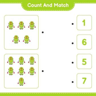 ロボットキャラクターの数を数えて一致させ、正しい数と一致させます