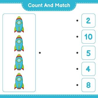 계산하고 일치하고 로켓의 수를 계산하고 올바른 숫자와 일치하십시오. 교육 어린이 게임, 인쇄용 워크시트, 벡터 일러스트 레이 션