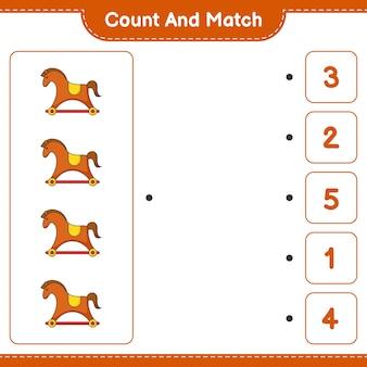 계산하고 일치하고 흔들 목마의 수를 계산하고 올바른 숫자와 일치하십시오. 교육 어린이 게임, 인쇄용 워크시트, 벡터 일러스트 레이 션