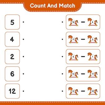 Подсчитайте и сравните, подсчитайте количество лошадок-качалок и сравните их с правильными числами. развивающая детская игра, лист для печати, векторные иллюстрации
