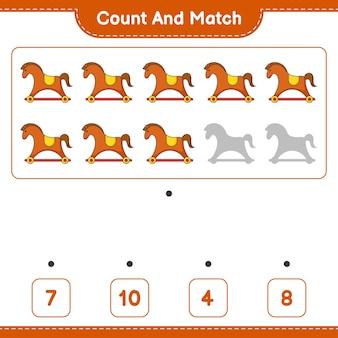 Подсчитайте и сопоставьте количество лошадок-качалок и сравните их с правильными числами