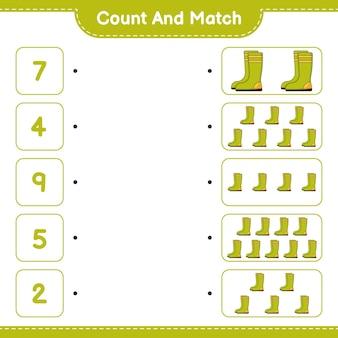 Подсчитайте и сопоставьте количество резиновых сапог и сравните их с правильным числом