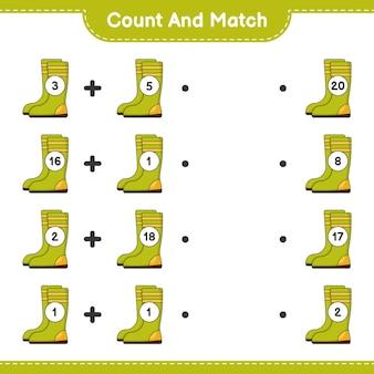 Подсчитайте и сопоставьте количество резиновых сапог и сравните их с правильными числами