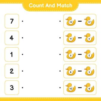 Подсчитайте и сравните, подсчитайте количество резиновых уток и сравните их с правильными числами. развивающая детская игра, лист для печати, векторные иллюстрации