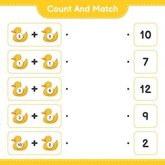 Подсчитайте и сравните, подсчитайте количество резиновых уток и сравните их с правильными числами