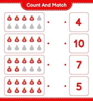 数えて一致させ、サンタクロースバッグの数を数え、正しい数と一致させます。教育的な子供向けゲーム