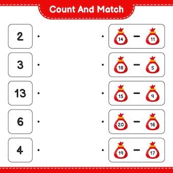 Подсчитайте и сравните, подсчитайте количество сумок санта-клауса и сравните с правильными числами. развивающая детская игра