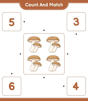 椎茸の数を数えて一致させ、正しい数と一致させます