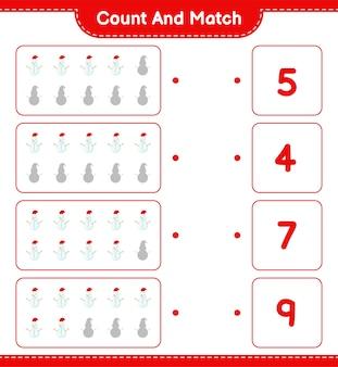 数えて一致し、雪だるまの数を数えて正しい数と一致します。教育的な子供向けゲーム