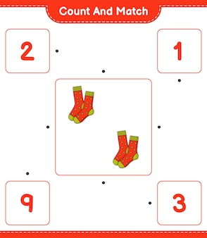 靴下の数を数えて一致させ、正しい数と一致させます