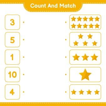 数えて一致させ、星の数を数え、正しい数と一致させます。教育的な子供向けゲーム