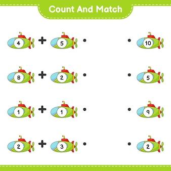 Подсчитайте и сопоставьте, подсчитайте количество подводных лодок и сопоставьте правильные числа. развивающая детская игра, лист для печати