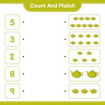 Подсчитайте и сопоставьте количество чайников и сопоставьте их с правильными числами