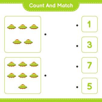 数え、一致するufoの数を数え、正しい数と一致する教育的な子供たちのゲーム