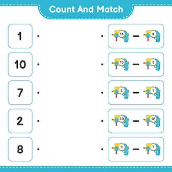 数えて一致させ、水鉄砲の数を数え、正しい数と一致させます。教育的な子供向けゲーム、印刷可能なワークシート、ベクターイラスト