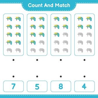 Подсчитайте и сравните, подсчитайте количество водяных пистолетов и сравните их с правильными числами. развивающая детская игра, лист для печати