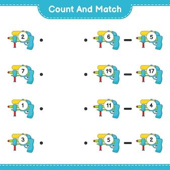 수를 세고 짝짓기하고 물총의 수를 세고 올바른 숫자와 짝을 맞추세요. 교육용 어린이 게임, 인쇄 가능한 워크시트