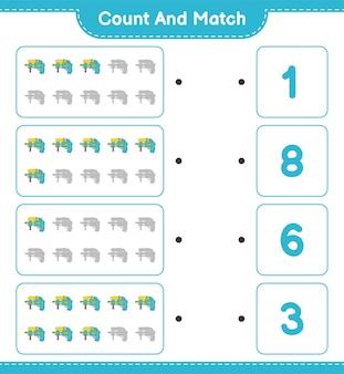 数えて一致させ、水鉄砲の数を数え、正しい数と一致させます。