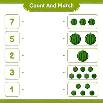 数えて一致させ、スイカの数を数え、正しい数と一致させます。教育的な子供向けゲーム、印刷可能なワークシート