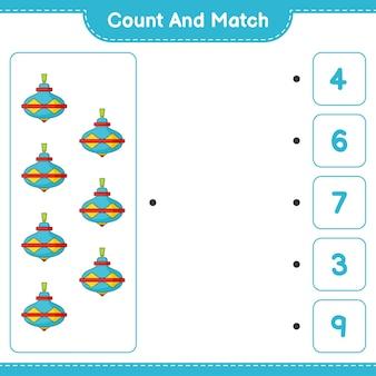 세고 짝짓기하고, whirligig 장난감의 수를 세고 올바른 숫자와 짝을 맞추세요. 교육 어린이 게임, 인쇄용 워크시트, 벡터 일러스트 레이 션