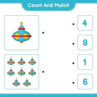カウントアンドマッチは、かざぐるまのおもちゃの数を数え、正しい数と一致します