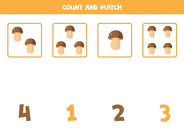 Count boletus and match with correct answers.