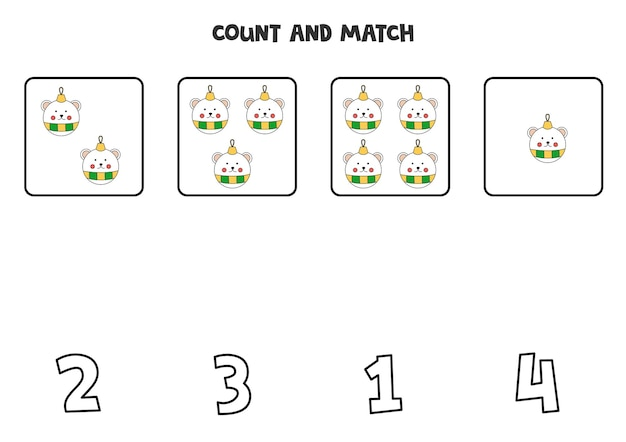 Count christmas balls and match with correct numbers. math game for kids.