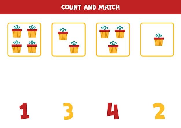 크리스마스 선물 상자를 세고 숫자와 일치시킵니다. 아이들을위한 교육 수학 게임.