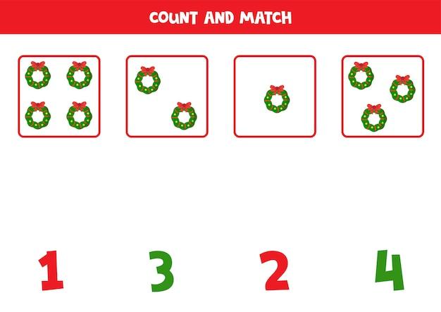 Подсчитайте рождественские венки и сопоставьте числа обучающая математическая игра для детей